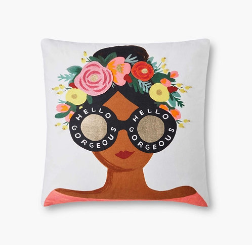 Flower Crown Gorgeous Girl Embroidered Pillow