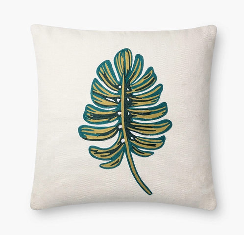 Monstera Embroidered Pillow