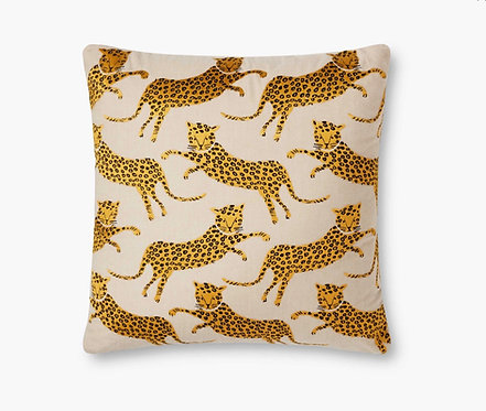 Leap of Leopards Embroidered Pillow