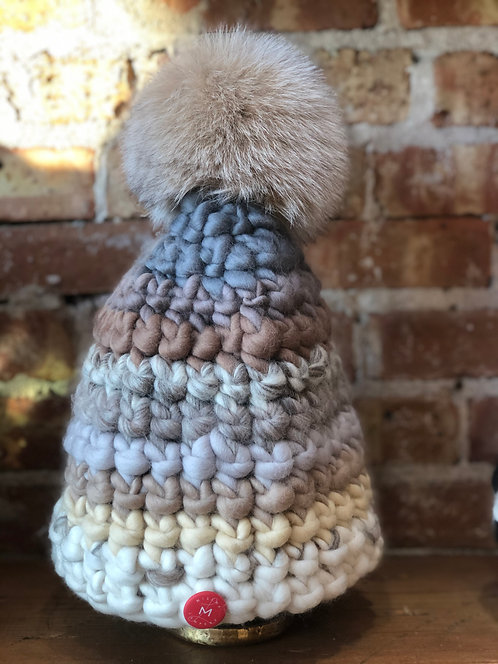 Grey Neutral Beanie with Brown Pom