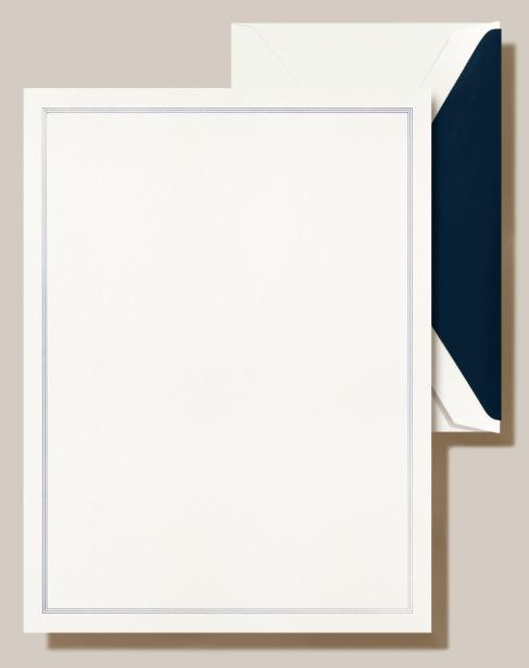 Crane Navy Triple Hairline Framed Half Sheet