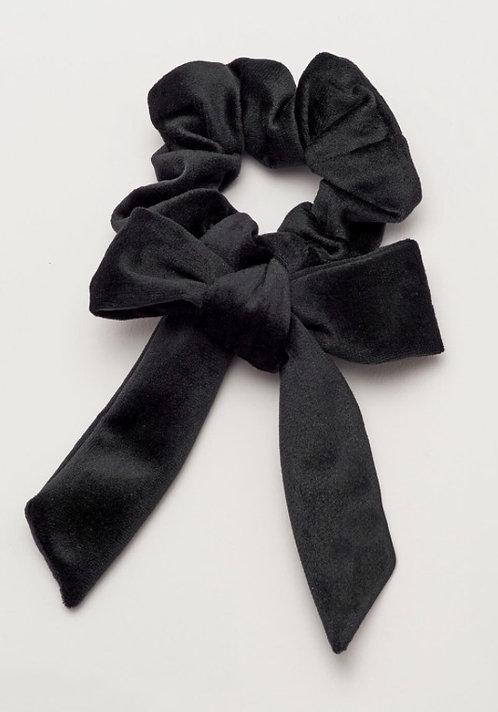 Velvet Black Bow Hair Scrunchie