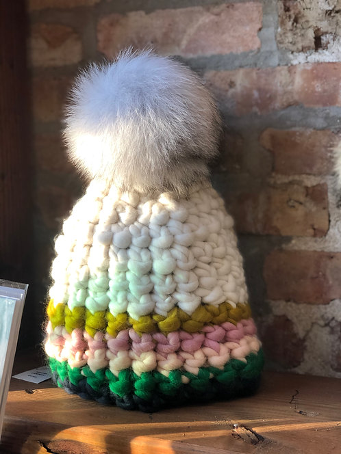 Green and White Beanie with White Pom