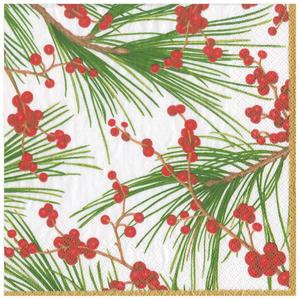Berries & Pine Holiday Paper Cocktail Napkins