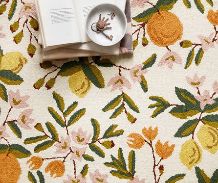 Citrus Floral Cream Wool-Hooked Rug