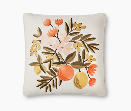 Rifle Paper Co. Citrus Floral Embroidered Pillow