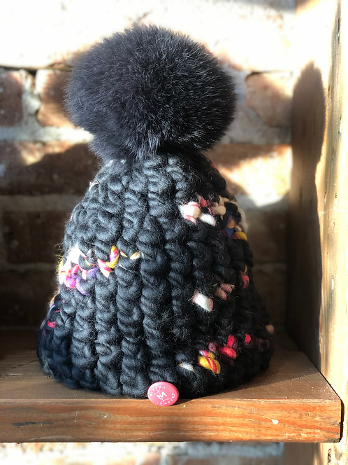 Black Beanie with Black Pom