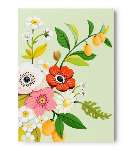 Green Floral Tear-Off Notepad