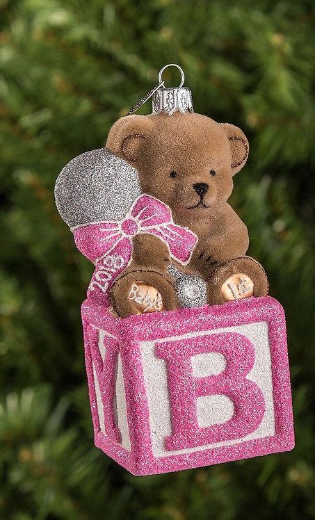 Pink Bear on Block Ornament