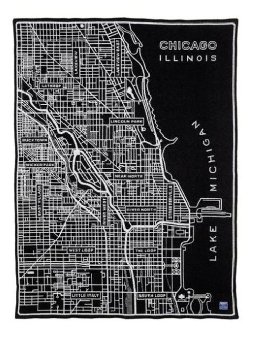 City of Chicago Map Black & White Wool Blend