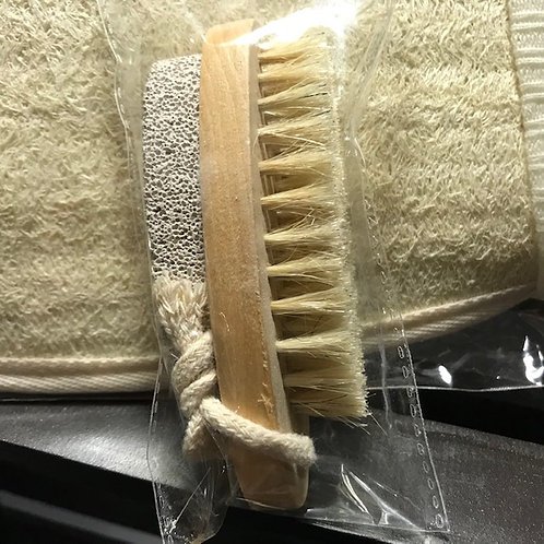 Small Nail Brush w/ Natural Pumice Stone