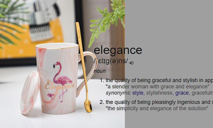 Marbling Flamingo Pattern Ceramic Mug