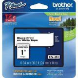 "Brother TZe251 24mm (0.94"") Black on White tape for P-touch 8m (26.2 ft.)"