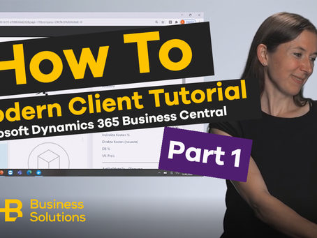 SHB Tutorials: Modern Client Microsoft Dynamics 365 Business Central