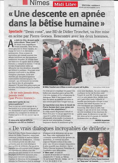 article Midi Libre DEUX CONS 26 nov 2015