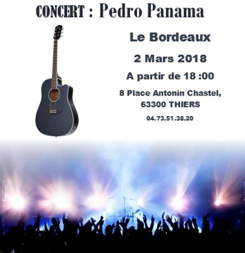 Affiche pedro panama Concert Le Bordeaux