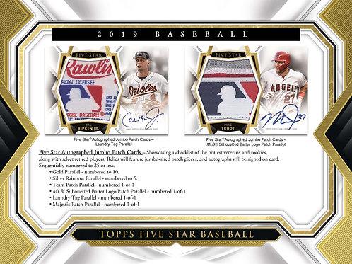 2019 Topps FIVE STAR MLB Sealed 8 Box Case