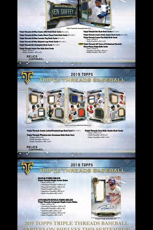 2019 Topps TRIPLE THREADS MLB 9 Box Case