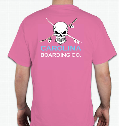 Carolina Boarding Co Skull Shirt (Adult) in Coral