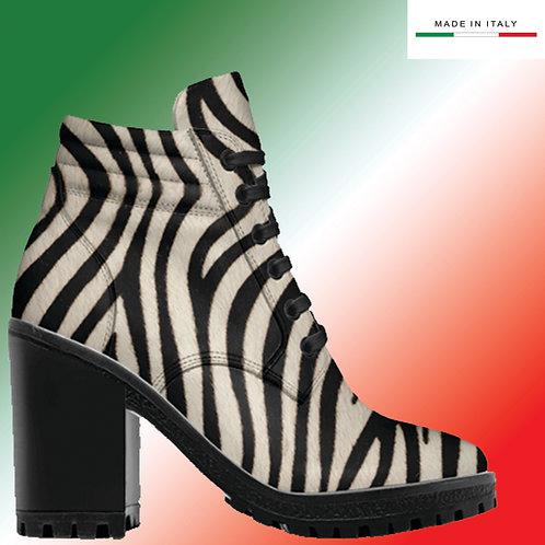 Made in Italy | Custom Design Men's 3.3 inch Heel, Lace Up Boot All Zebra.