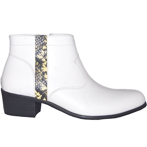 Stylish Cuban Heel with Yellow Snake Skin Detail