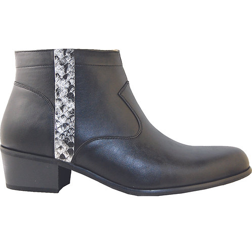 Black Men's stylish Cuban Heel with Silver Snake Skin Detail