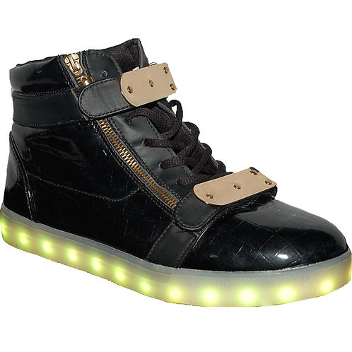 LED Flashing Lighted Outsoles Gold Hi Top Fashion Sneakers