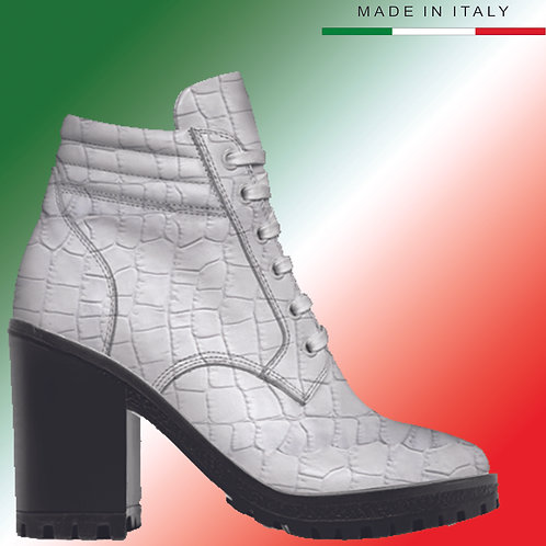 Made in Italy | Custom Design Men's 3.3 inch Heel, Lace Up Boot All Crocodile