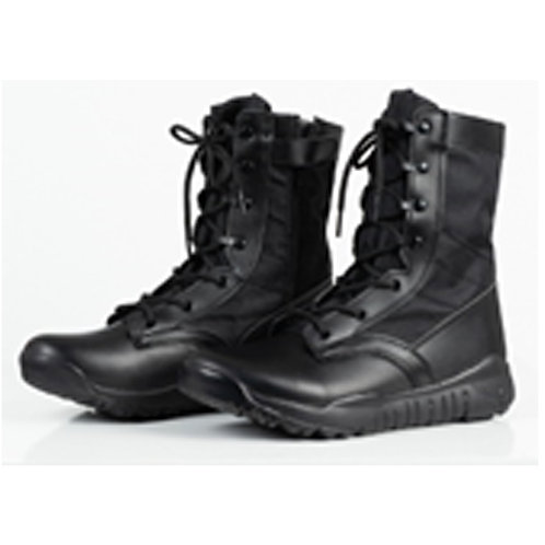 Men's 8 inch Black Leather Lace Up, Side Zipper Jungle Boot