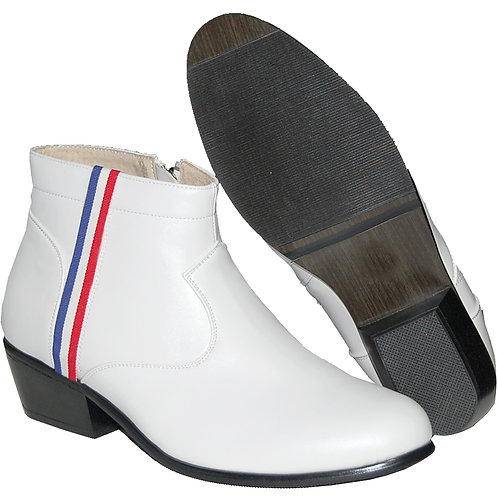 FASHION CUBAN HEEL WITH  RED, WHITE AND BLUE RIBBON