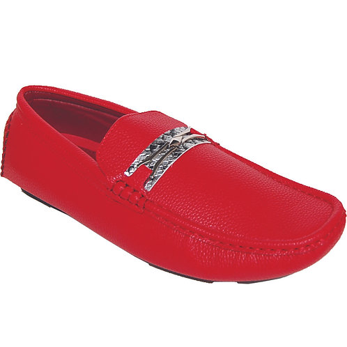 Men's Red Casual Slip-On with Silver Snake Skin Detail