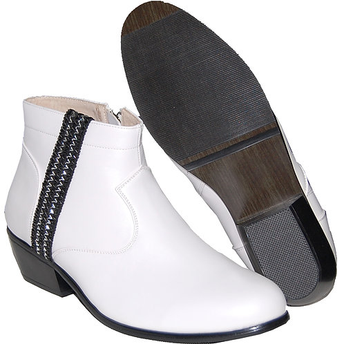 WHITE CUBAN HEEL WITH BLACK SILVER RIBBON