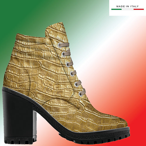 Made in Italy | Custom Design Men's 3.3 inch Heel, Lace Up Boot All Crocodile.