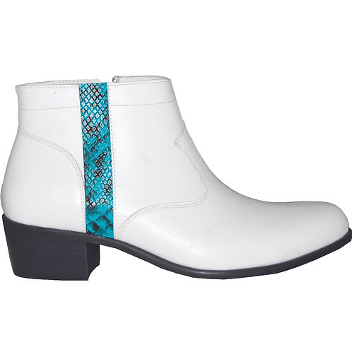 Stylish Cuban Heel with Teal Snake Skin Detail