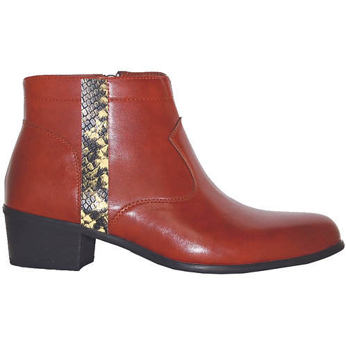 Brown Stylish Cuban Heel with Yellow Snake Skin Detail