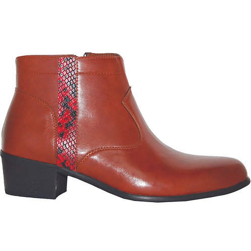 Brown Stylish Cuban Heel with Red Snake Skin Detail