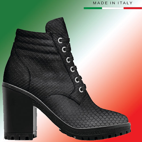Made in Italy | Custom Design Men's 3.3 inch Heel, Lace Up Boot All Python
