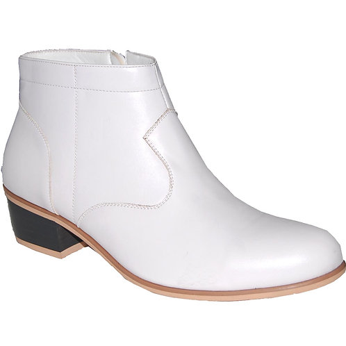 Square Tip Machine Made Men's White Cuban Heels