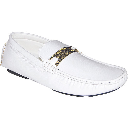 Men's Casual Slip-On Shoe in White with Snake Skin Detail