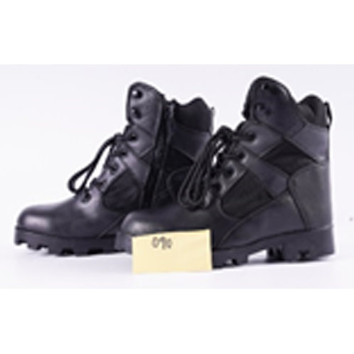 Men's 7 inch Leather Black Lace Up with Side Zipper Combat, Tactical Boot