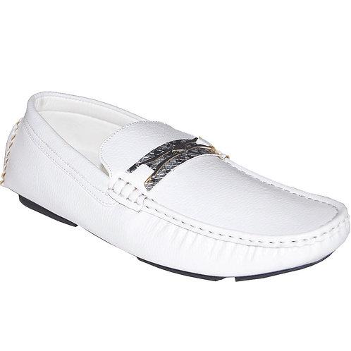 Men's White Casual Slip-On with Silver Snake Skin Detail