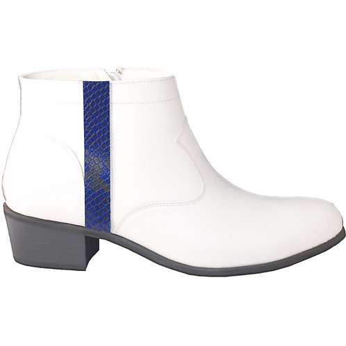 Stylish Cuban Heel with Blue Snake Skin Detail