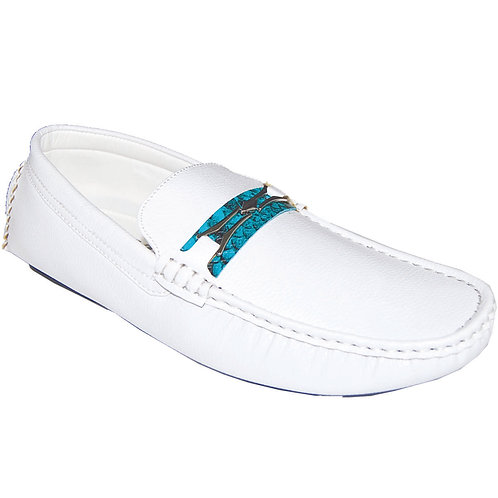 Men's Casual Slip-On with Teal Snake Skin Detail