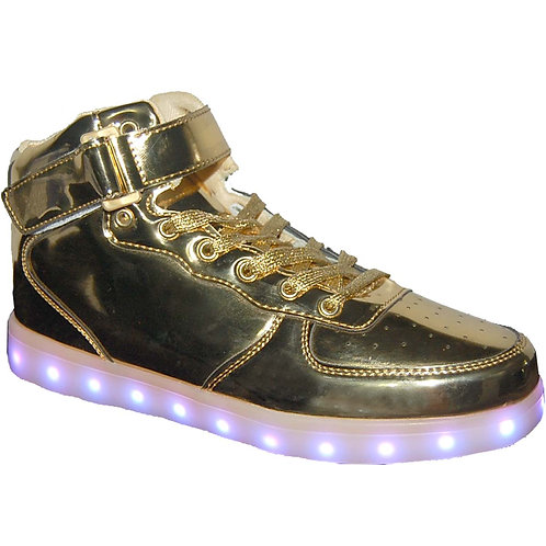 Golden LED Lighted Outsoles - Hi Top Sneakers
