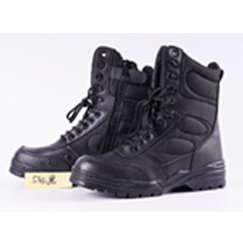 Heavy Duty Men's Leather 8 inch Speed Lace & Side Zipper Black Combat Boot