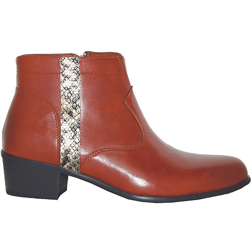 Brown Stylish Cuban Heel with Gold Snake Skin Detail