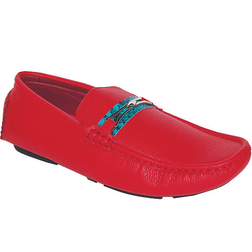 Men's Red Casual Slip-On with Teal Snake Skin Detail
