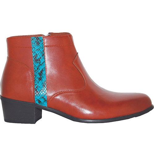 Brown Stylish Cuban Heel with Teal Snake Skin Detail