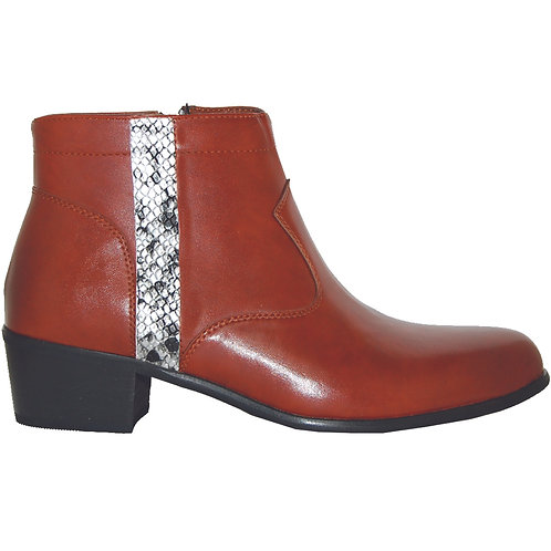 Brown Stylish Cuban Heel with Silver Snake Skin Detail
