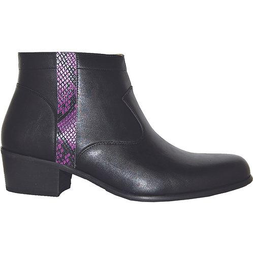 Black Men's stylish Cuban Heel with Purple Snake Skin Detail